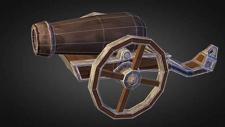 Medieval Cannon   Very Detailed Medieval Cannon. Great for game genre like Tower Defense, mmorpg, strategy etc. Wheels on cannon can be rotated individual, so you can animate it easily.  * Low Poly (817 Poly - 808 Verts) * 1024x1024 Max Res (Resize if you like) * model is unwrapped and uvw textured.