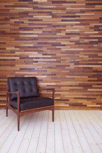 Dekorativ trävägg. Väggen kan användas som fondvägg till exempelvis restaurang och reception men även till privata hem. Träslagen är FSC-märkta.