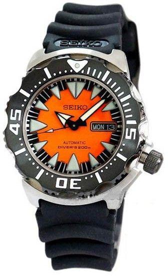 Montre+Seiko+Monster+Diver+automatique+pour+homme%2C+cadran+noir+et+orange+avec+un+bracelet+en+caoutchouc+noir.