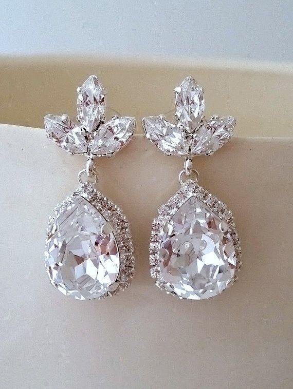Clear Chandelier earrings | crystal Bridal earrings by EldorTinaJewelry on Etsy | http://etsy.me/1hNPbh9