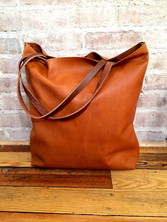 Large camel brown Leather Tote Bag  oversized brown by sord, $240.00