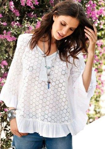 Vyšívaná halenka s netopýřími rukávy #ModinoCZ #blouse #lace #boho