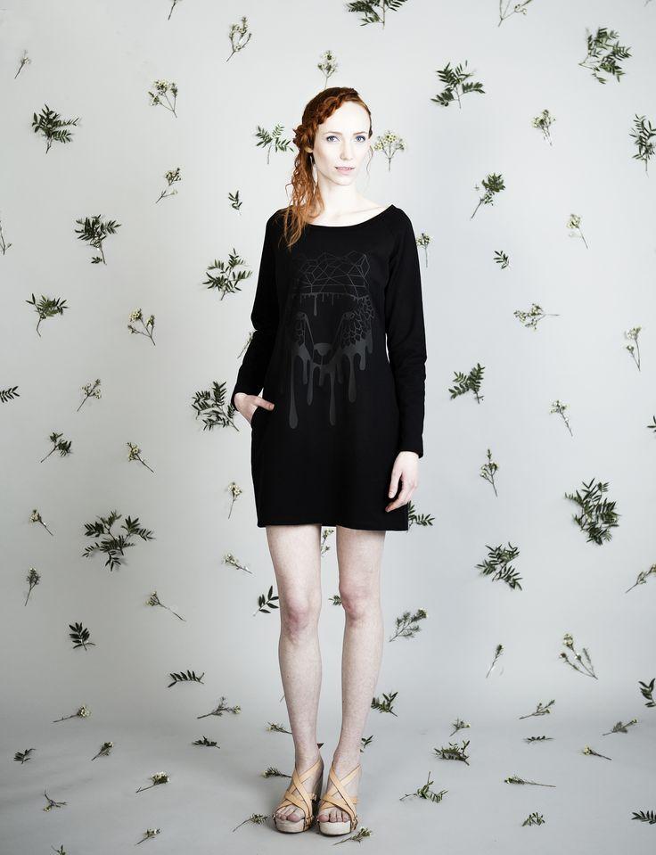 Black jersey dress with bear print. Made in Finland.  Photo: Jonna Hietala
