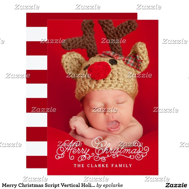 Merry Christmas Script Vertical Holiday Photo Card