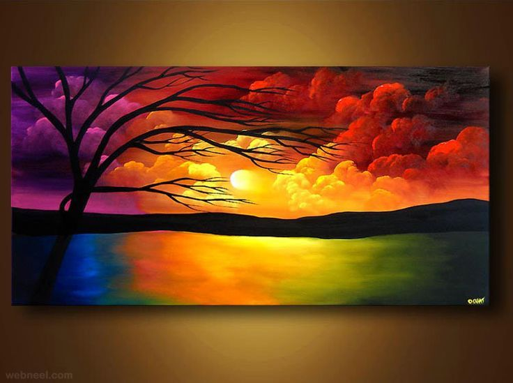 50 Beautiful Sunrise Sunset And Moon Paintings For Your Inspiration Beautiful Colorful Inspira Sunrise Painting Colorful Landscape Paintings Moon Painting