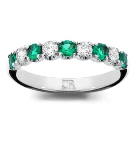 Charles Collection - Brilliant emeralds and diamonds eternity ring. Handmade and exclusive to Charles Rose. #CharlesRoseMoment #diamonds #finejewellery#luxuryjewellery #handmadejewellery#engagementring #weddingring