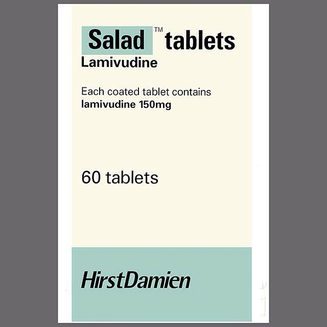 'Salad'(1999)- one of a series of thirteen screenprints depicting pharmaceutical packaging with the medicine's name replaced with that of food common on British canteen menus (Photo by Rick Jenkins and Donald Thompson) #DamienHirst #salad #medicine #screenprint