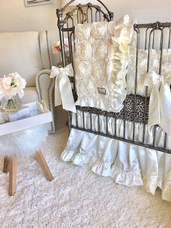 Ivory Crib Skirt Satin Crib Skirt Ivory Gathered Crib Skirt