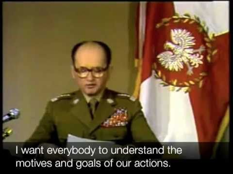 Wojciech Jaruzelski on television, telling the people that they were under martial law.