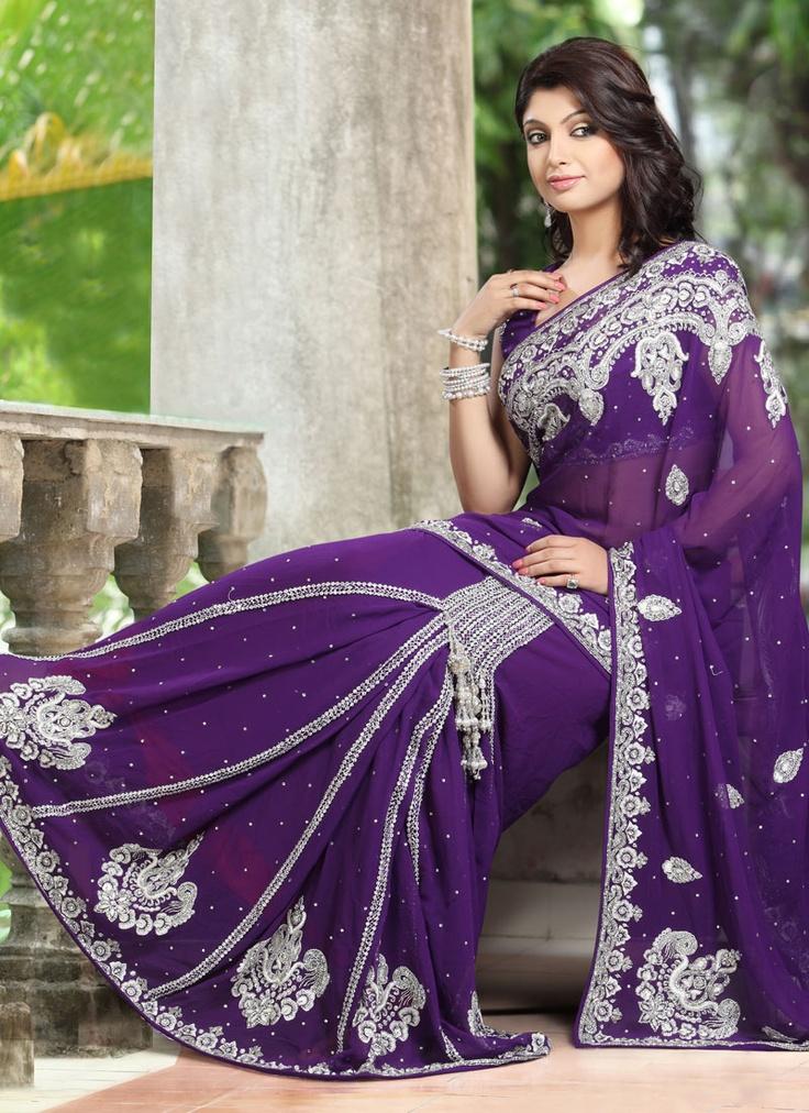 Purple Viscose Ready Pleated Saree