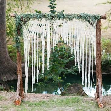 macrame wedding ceremony arch