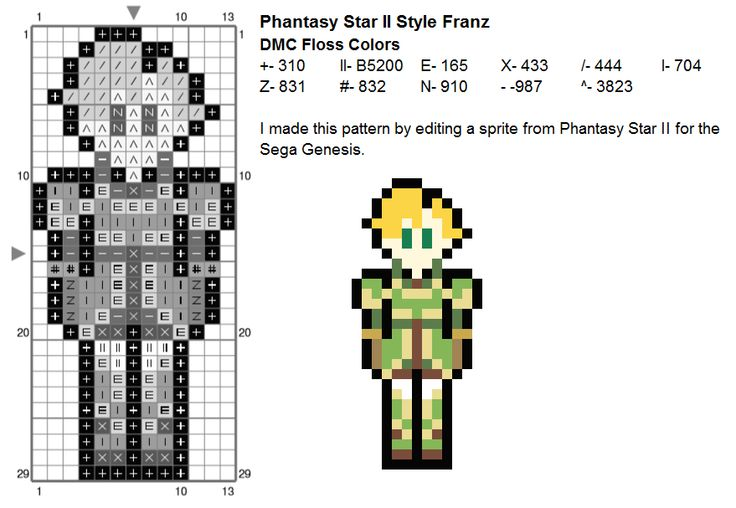 cross stitch pattern of Franz from Fire Emblem Sacred Stones on the GBA