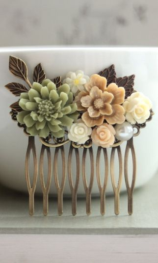 "Vintage inspired hair comb with autumn colors: ""Shabby Nature Brown, Green Rustic, Ivory Rose, Leaf, Vintage Style Collage Hair Comb"" (description from Etsy.com) <> Pretty to tuck into a messy bun hairdo on a brisk, breezy, autumn day!"