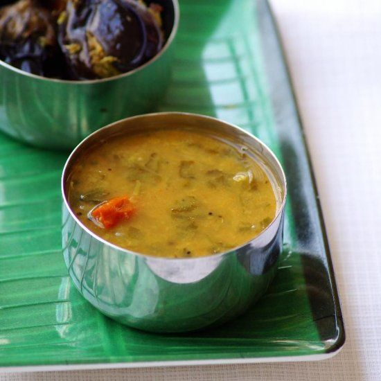 Palak Sambar - Traditional South Indian sambar / stew with spinach and lentils.