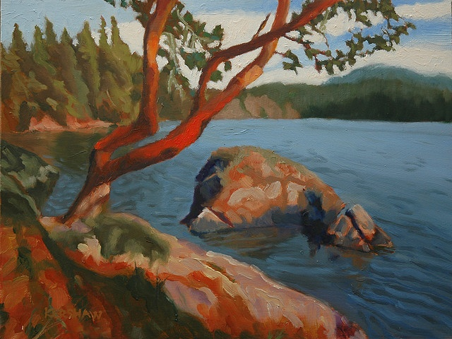 Coastal Arbutus    Here's a beautiful Arbutus tree on the coast of Sooke Basin.  Oil, 12 in. x 9 in., on hard board