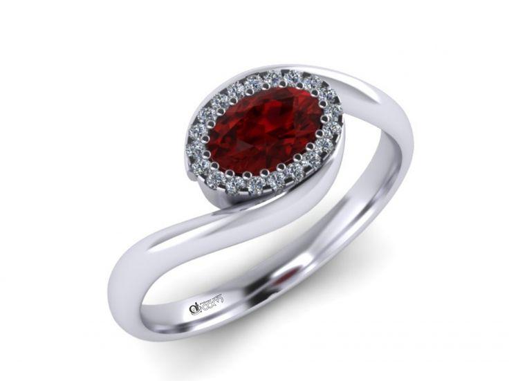 Inel de logodna ATCOM Lux cu rubin si diamante VEGA aur alb  Beneficiati de - 10 % REDUCERE din pretul diamantelor mici !