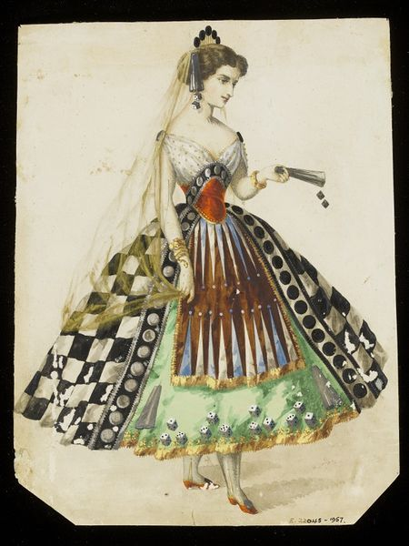"""1860s design for a """"Tabletop Games"""" themed fancy-dress costume, probably for the House of Worth. V&A. (After further research, I think the theme of this is more like """"Chance"""" or """"Risk-Taking."""")"""