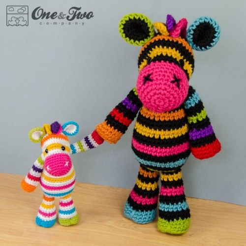 Rainbow Zebra Amigurumi Crochet Pattern by One and Two Company