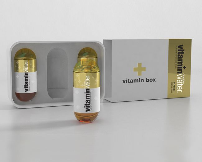 Glacéau's Vitamin Water has two levels of packaging. Indeed, first the primary packaging which is directly in contct with the product (liquid). And then, there is the secondary packaging which carries the primary packaging and the product itself in order to be better protected (technical function). The product is original because the packaging has a funny shape, it reminds us a drug capsule of vitamin. It has a visual impact and high identification of the product (communication function).