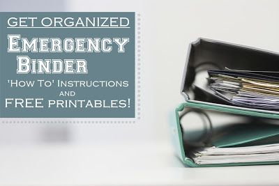 FREE PRINTABLE: Emergency Binder by Stock Up With Shelley -so excited for this post!  This summer I've been revamping my 72 hour kits a...