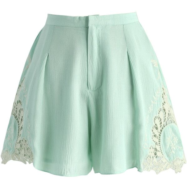Chicwish Tender Touch Lace Cutout Shorts in Mint ($42) ❤ liked on Polyvore featuring shorts, skirts, green, green shorts, cut out shorts, lacy shorts, mint lace shorts and summer shorts