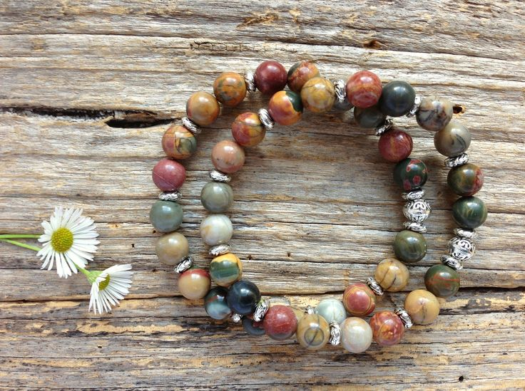 Natural Picasso Jasper Gemstone Bracelet Set, Unique Gift, Birthday, Christmas by TJBsimplebeauty on Etsy
