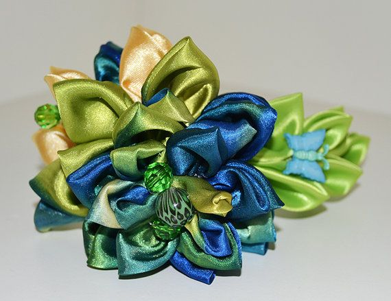 Floral Kanzashi Headband by Nemchinmarina on Etsy