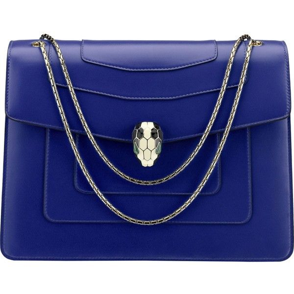 BVLGARI Serpenti Forever leather shoulder bag (£1,940) ❤ liked on Polyvore featuring bags, handbags, shoulder bags, fold over purse, shoulder strap bags, blue purse, blue shoulder bag and blue leather handbags