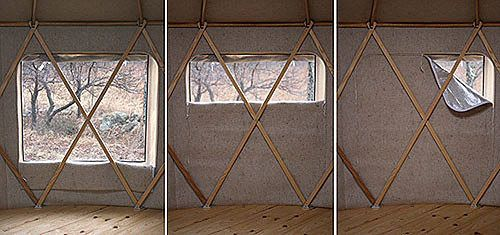 adjustable screened windows & insulation #yurt