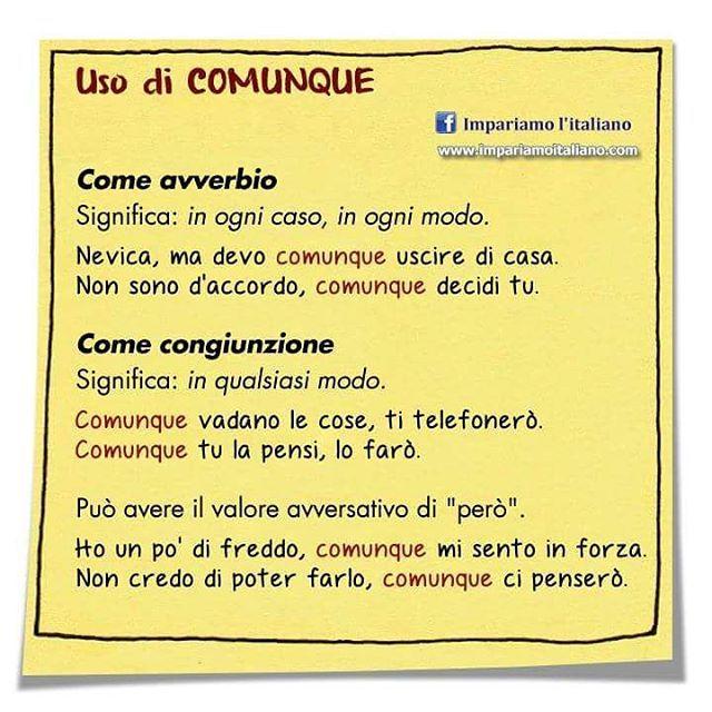 Utlizzo di COMUNQUE #learnitalian #learningitalian #studyitalian #italianlanguage #italianteacher #italianlessons #linguaitaliana #imparareitaliano #italienischlernen #impariamoitaliano #grammartips