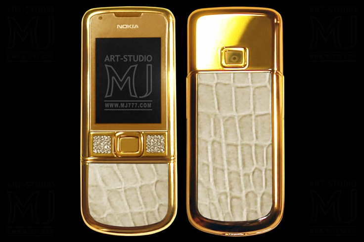Elite Nokia 8800 Arte Gold Exotic Genuine Leather MJ Limited Edition Crocodile Milk. Nokia 8800 Arte is covered with gold. The MJ Exotic Edition series are decorated by inserts from skin of a crocodile and from other types of exotic skin. A series of MJ Solid Gold phones are issued in cases from cast gold of 585, 750, 777,  888, 999th alloys.   http://exclusive-mj.com/en/