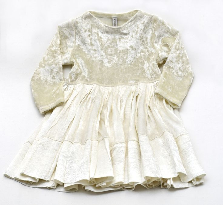 Ivory velvet and satin dress #kidsfashion http://kafkids.co.nz/