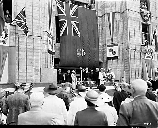 Vancouver City Hall cornerstone laying ceremonies with Mayor G. G. McGeer
