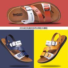 2016 Nuevos Hombres de Moda Al Aire Libre Casual Hombres Sandalias De Cuero Sandalias de Verano Plana con Zapatillas de Hombre Clásico de Cuero Transpirable Sandalias(China (Mainland))