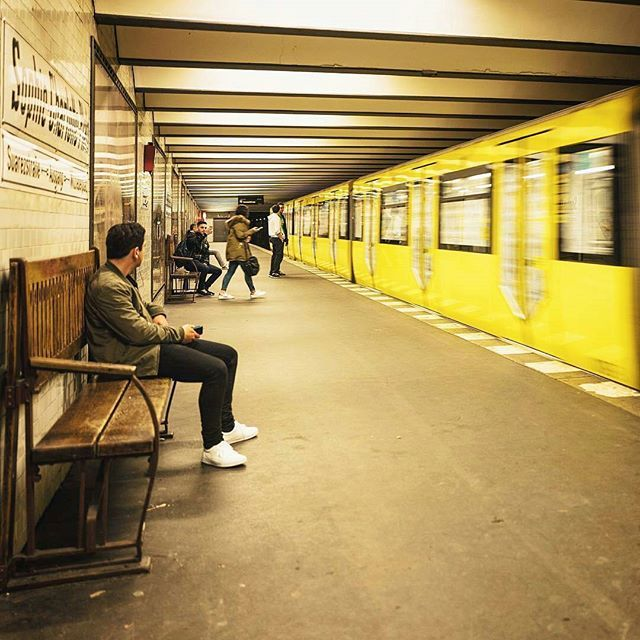 #Repost from @jn -  a late yellow train.  #berlin #train #trainstation #platform #subway #underground #yellow #motion #transport #publictransport #city #citylife #urban #urbanjungle #urbannomad #photooftheday #people