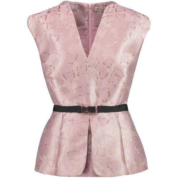 Mary Katrantzou Mirage metallic jacquard peplum top (€1.040) ❤ liked on Polyvore featuring tops, pastel pink, loose fitted tops, loose fitting tops, pink top, loose fit tops and mary katrantzou