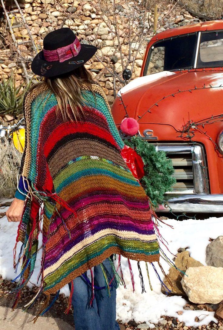 LARGO Handknit Womens bohemio Hippie Festival playa Poncho