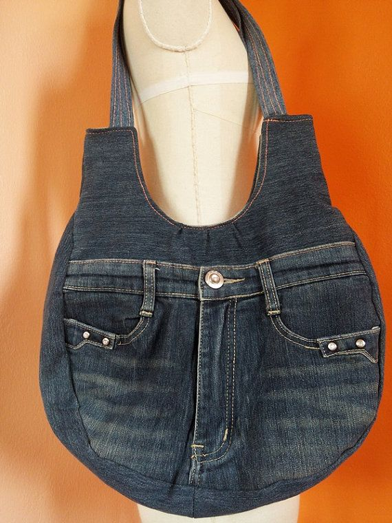 Upcycled Recycled Denim Bag Purse Handicraft van TawanShine op Etsy