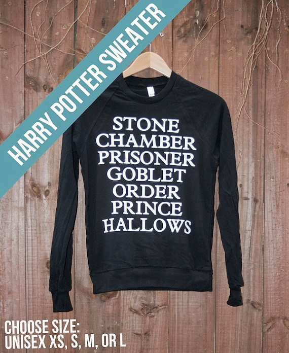 Unisex Harry Potter Sweater - Choose Size - MADE TO ORDER - American ApparelBirthday Presents, Harry Potter Shirts, Book Title, Harry Potter Sweatshirts, Style, Closets, Clothing, Harrypotter, Harry Potter Sweaters