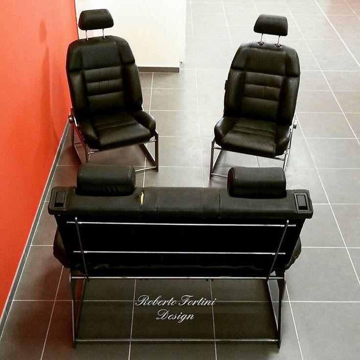 robertofortinidesign Poltrone e divanetto ricavati da sedili in pelle di una vecchia Citroen, montati su telaio in ferro satinato.