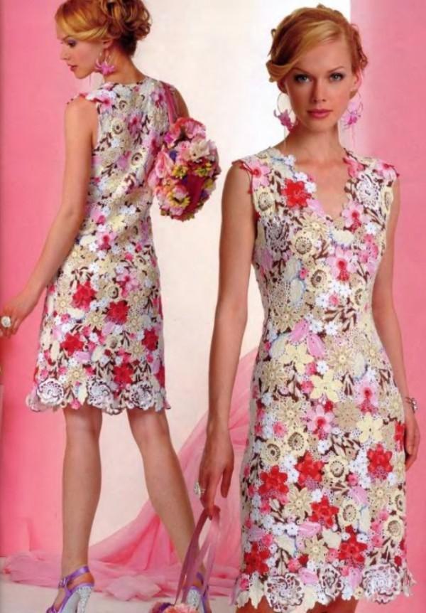 Розовое платье из ирландского кружева