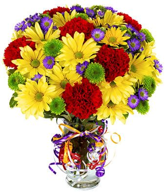Colorful Bouquet  $44.99   Celebrate with a colorful flower bouquet! Arranged with fresh flowers including red carnations, yellow daisies, purple Monte Casino and green button poms. Delivered in a glass vase with a rainbow colored ribbons.