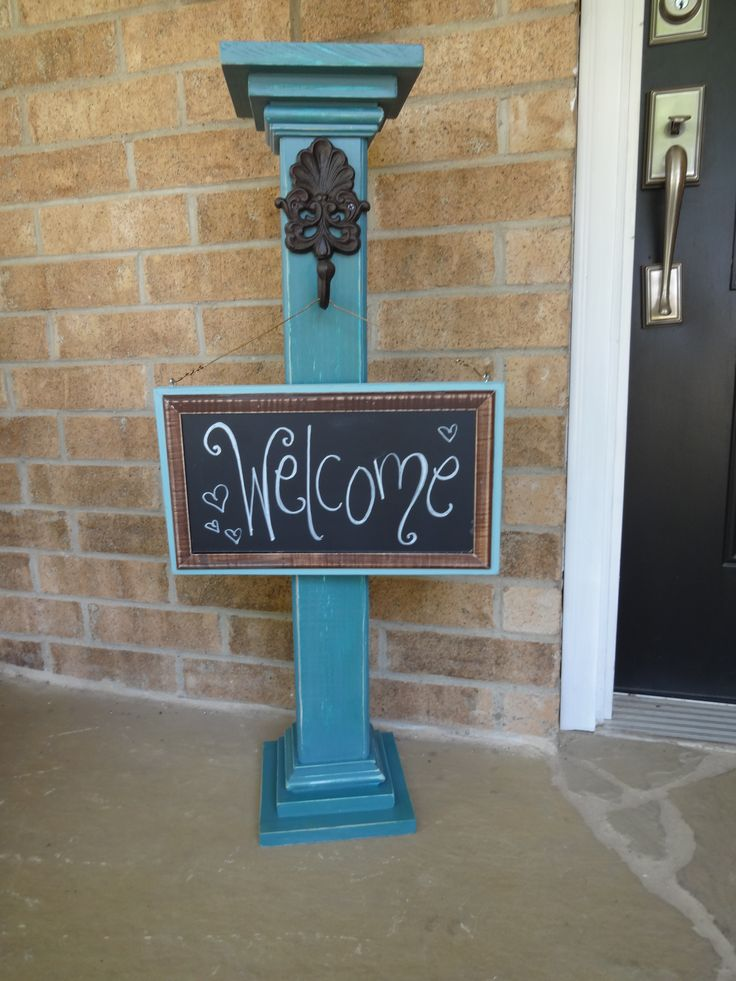 Sign post with chalkboard sign... can say anything... to welcome your guests! jrc