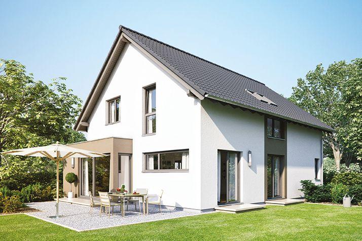 Fertighaus Einfamilienhaus: NEO 200 Außenansicht Garten mit Erker