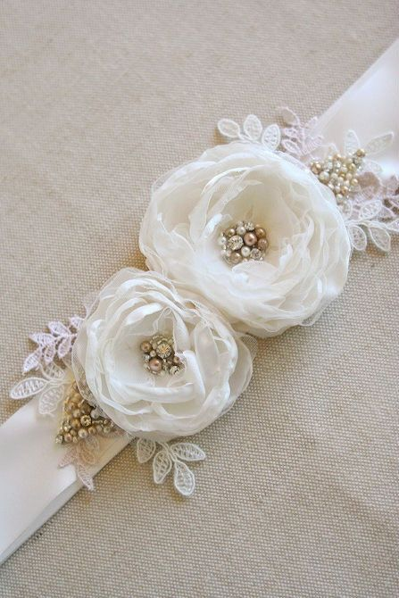 Bridal Flower Sash Wedding Flower Narrow Bridal Floral Belt by BelleBlooms