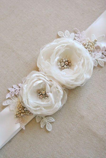 Bridal Flower Sash Wedding Flower Narrow Bridal Floral Belt by BelleBlooms