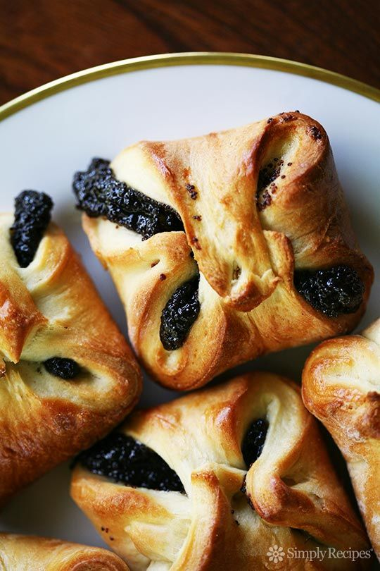 Classic Czechoslovakian kolache pastry, with a poppy seed filling.  Minnesota style, the pastry is folded up on itself. ~ SimplyRecipes.com
