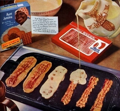 """Pancake Bacon strips.. VERDICT: the bacon has to be completely flat for this to work. I found it worked better to pour the """"strips"""" of pancake mix, lay the bacon on top, cover with more mix and then flip it. Other than that, it did taste yummy!"""