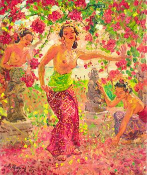 Adrien+Jean+Le+Mayeur+De+Merprés - Balinese+Women+Surrounded+by+Flower+Blossoms