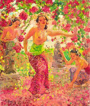 Adrien+Jean+Le+Mayeur+De+Merprés - Balinese+Women+Surrounded+by+Flower+Blossoms